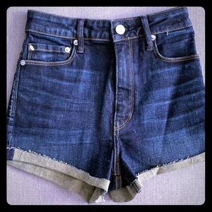 Aritzia.High waisted soft cuff denim shorts. Blue.